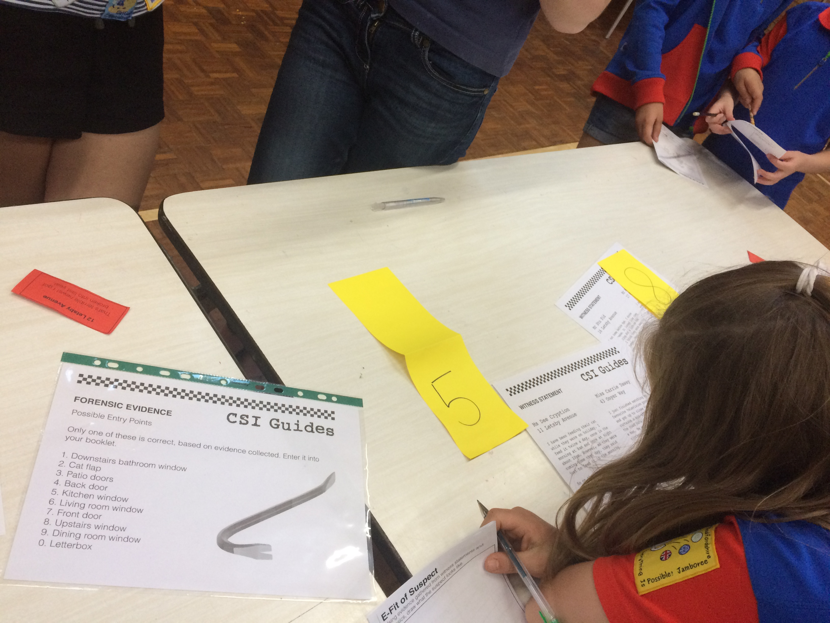 Examining witness statements u2013 the red paper is one of the door-to-door enquiry slips and the yellow paper was meant to be stood up like a tent as an ... & CSI Guides - Burglary Investigation for Kids | Guide Kit